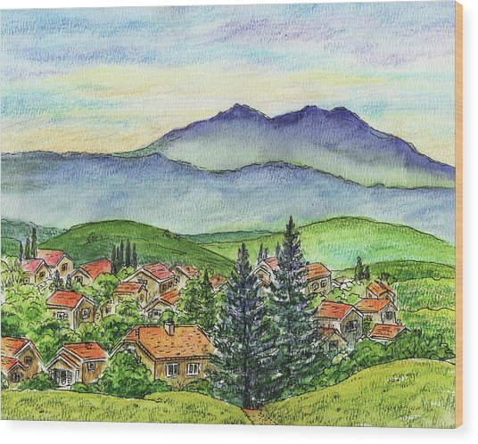 Small Town Mountains And Hills Wood Print