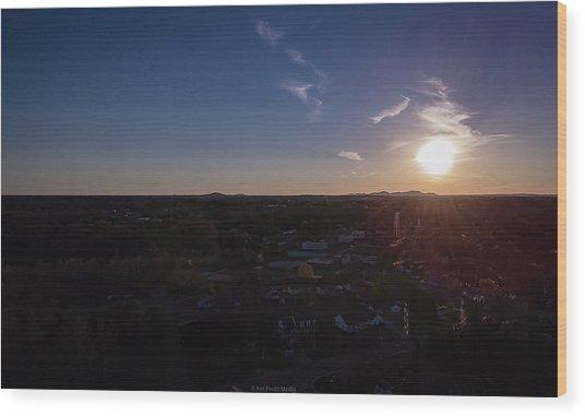 Small Town Sun Wood Print