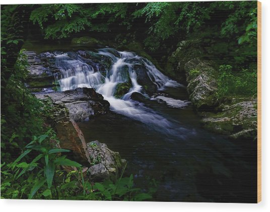 Small Waterfall  Wood Print by Elijah Knight