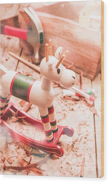 Small Xmas Reindeer On Wood Shavings In Workshop Wood Print