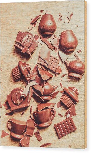 Smashing Chocolate Fondue Party Wood Print