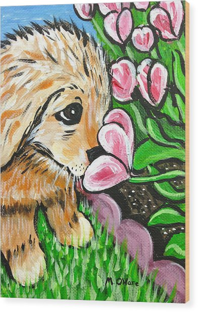 Smelling The Flowers Wood Print