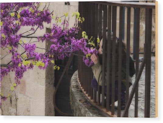 Smelling The Flowers Wood Print by Obi Martinez