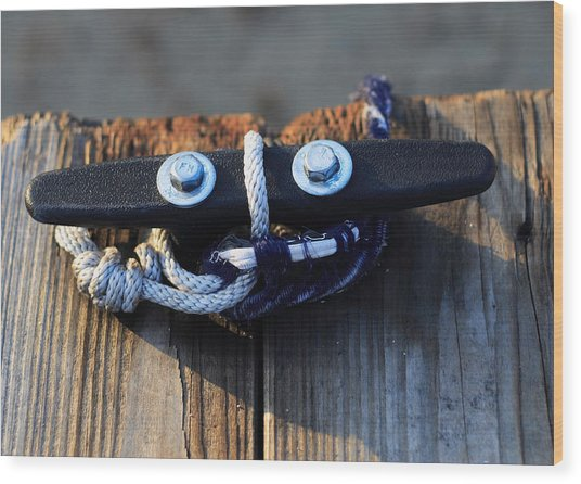Smiling Boat Cleat Wood Print