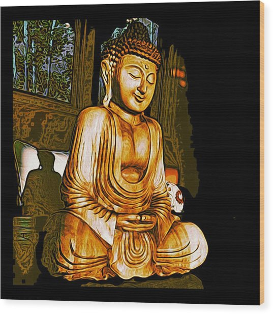 Smiling Buddha Wood Print