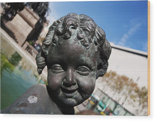 Smiling Cherub Wood Print