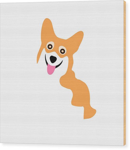 Smiling Corgi Pup Wood Print