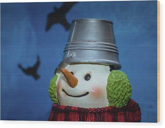 Smiling Snowman Wood Print