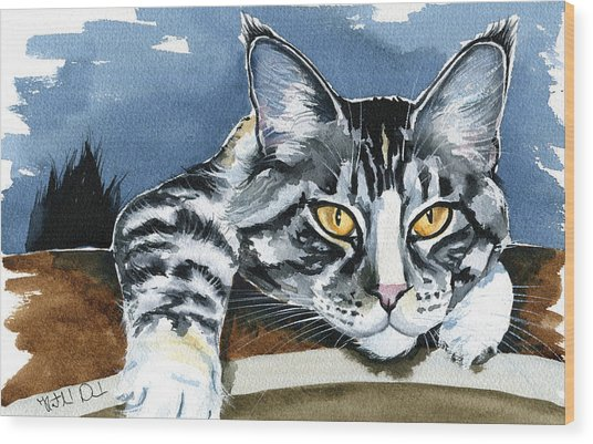 Smilla - Maine Coon Cat Painting Wood Print
