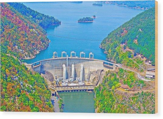 Smith Mountain Lake Dam Wood Print