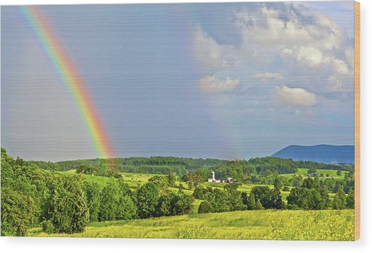 Smith Mountain Lake Rainbow Wood Print