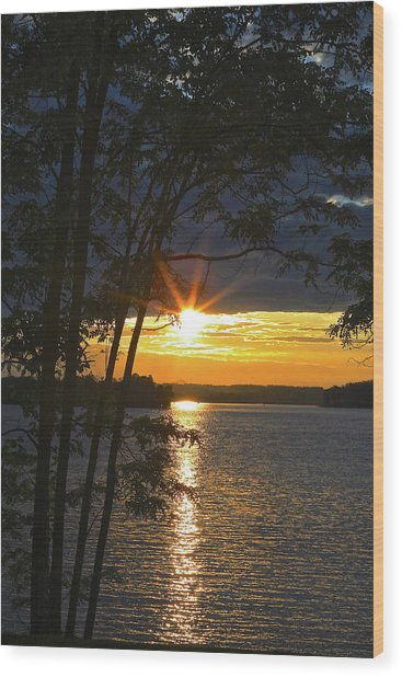Smith Mountain Lake Summer Sunet Wood Print
