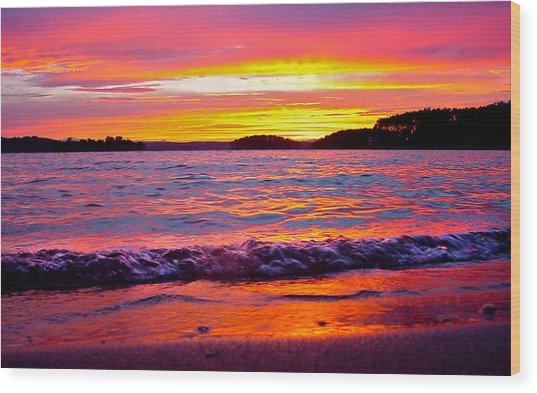 Smith Mountain Lake Surreal Sunset Wood Print