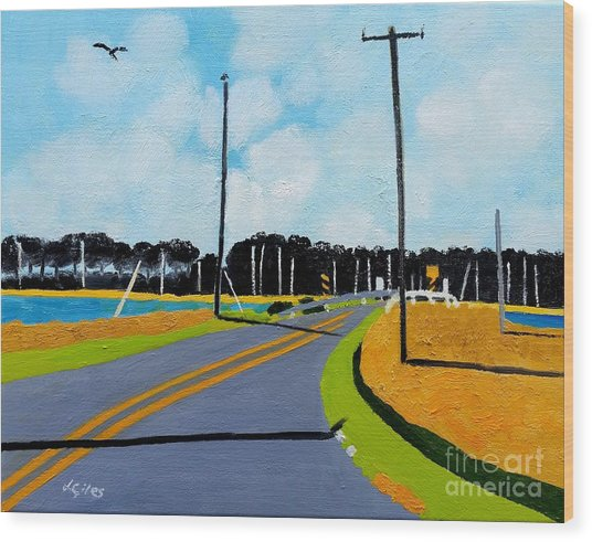 Smithville Boat Ramp Wood Print by Lesley Giles