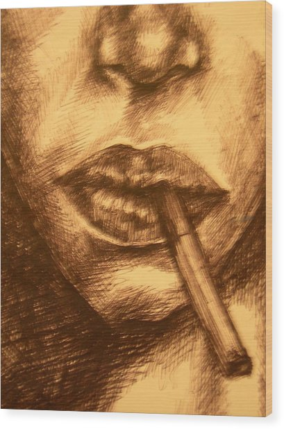 Smoke Break Wood Print by J Oriel