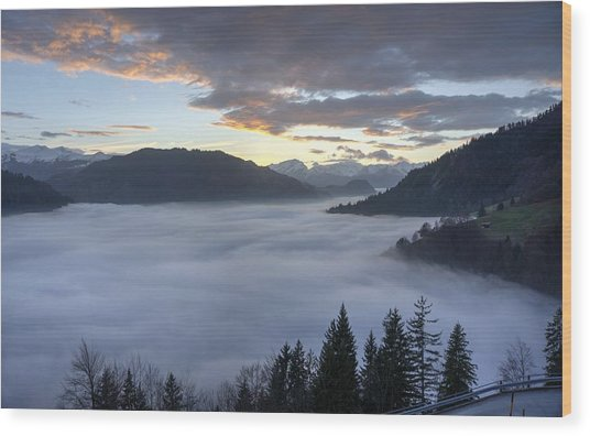 Smoke In The Valley Fire In The Sky Wood Print