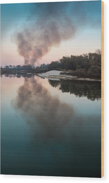 Wood Print featuring the photograph Smoke On The Water. Horytsya, 2014. by Andriy Maykovskyi