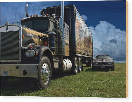 Smokey And The Bandit Tribute 1973 Kenworth W900 Black And Gold Semi Truck And The Bandit Transam Wood Print