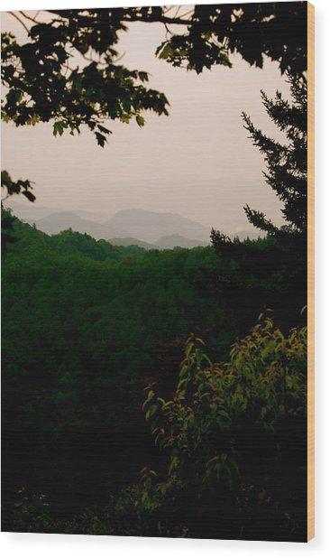 Smokey Mountains At New Found Gap Wood Print by Kimberly Camacho