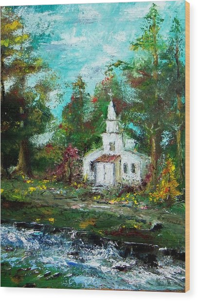Smokey Mountains Church Wood Print by Lynda McDonald