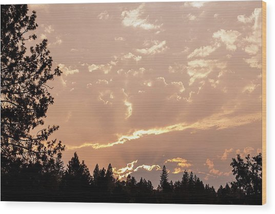 Smokey Skies Sunset Wood Print