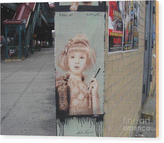 Smoking Girl  Wood Print