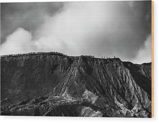 Smoking Volcano Wood Print