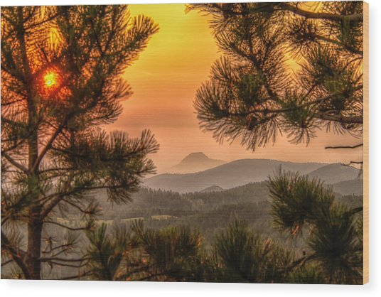 Smoky Black Hills Sunrise Wood Print