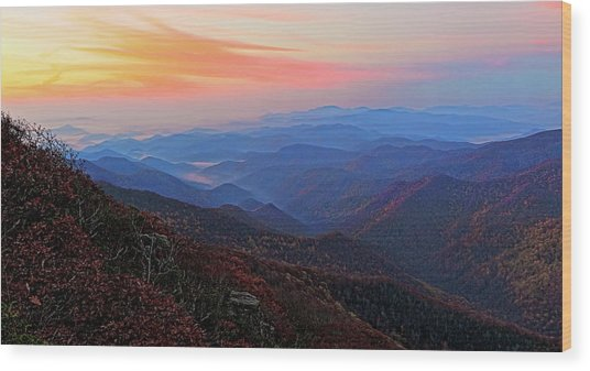 Dawn From Standing Indian Mountain Wood Print