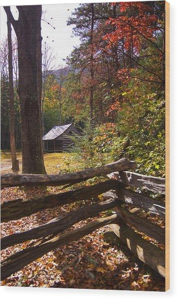 Smoky Mountain Log Cabin Wood Print