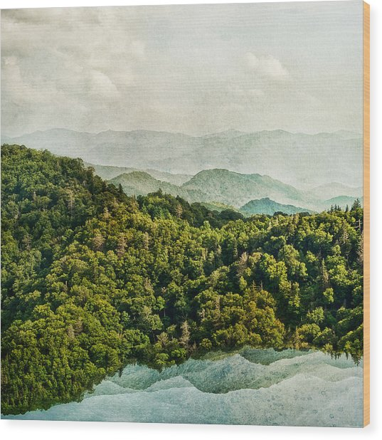 Smoky Mountain Reflections Wood Print