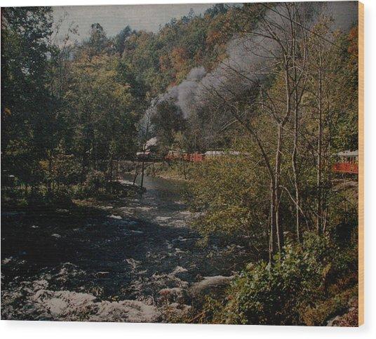Smoky Mountains Rail Road Wood Print by Joseph G Holland