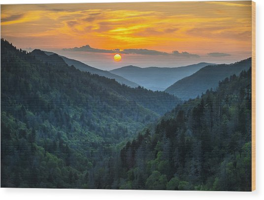 Smoky Mountains Sunset - Great Smoky Mountains Gatlinburg Tn Wood Print