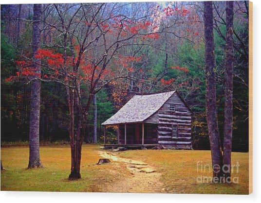 Smoky Mtn. Cabin Wood Print