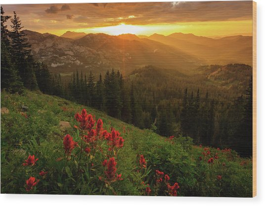Smoky Wasatch Sunset Wood Print