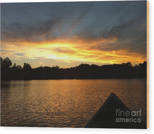 Smoldery Sunset Wood Print