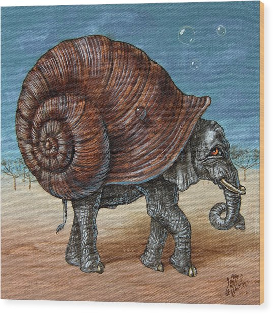 Snailephant Wood Print