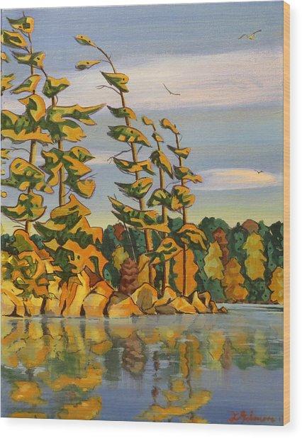 Snake Island In Fall Sunset Wood Print