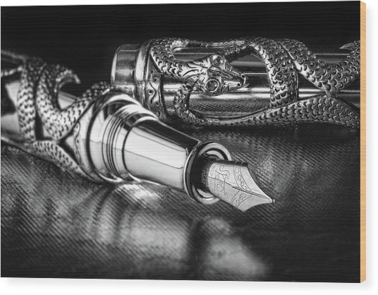 Snake Pen In Black And White Wood Print