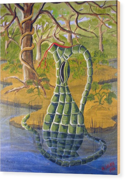 Snake Skin Pitcher Wood Print by Myrna Salaun