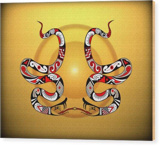 Snakes Homage To Mata Ortiz Wood Print by Tony Ramos