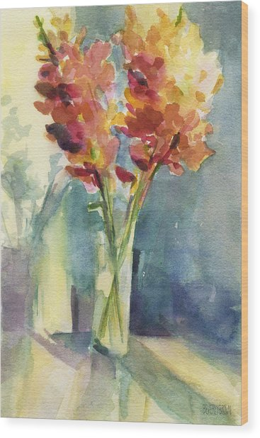 Snapdragons In Morning Light Floral Watercolor Wood Print