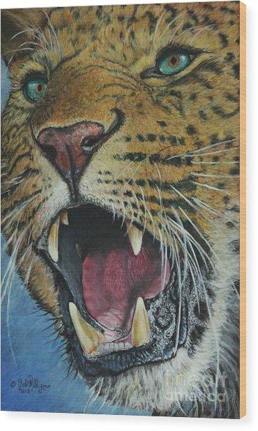 Snarl...amur Leopard Wood Print