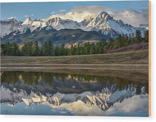Sneffels Reflected Wood Print