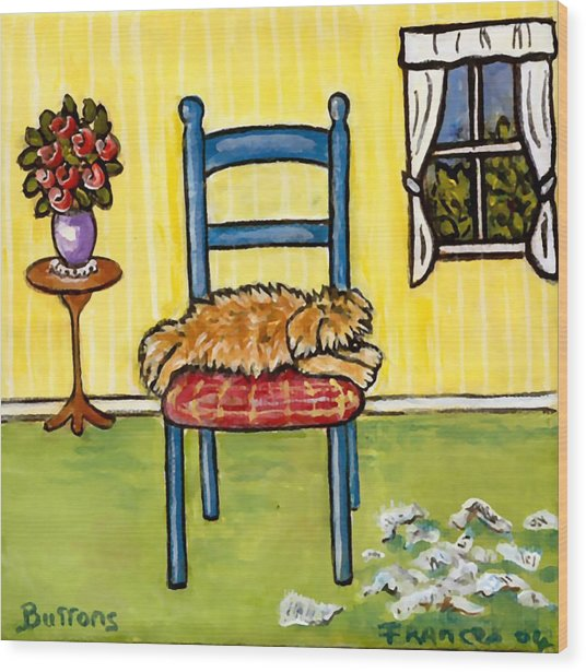 Snooze Time Wood Print by Frances Gillotti