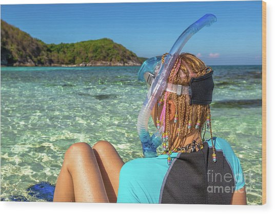 Snorkeler Relaxing On Tropical Beach Wood Print