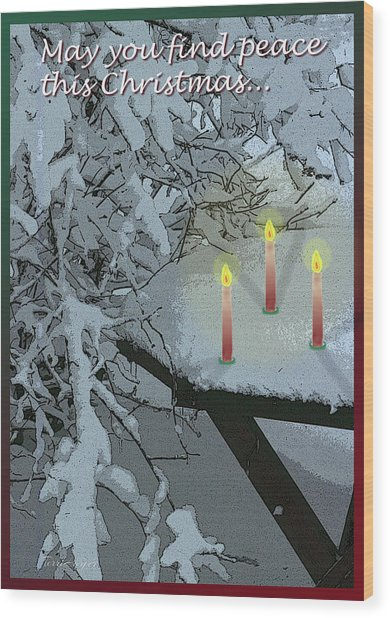 Snow And Candlelight Wood Print