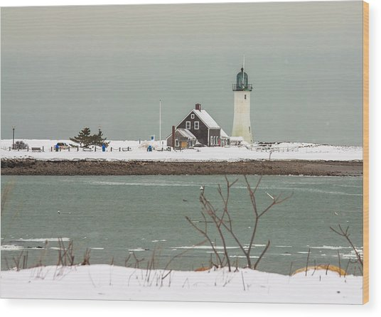 Snow At Scituate Lighthouse Wood Print