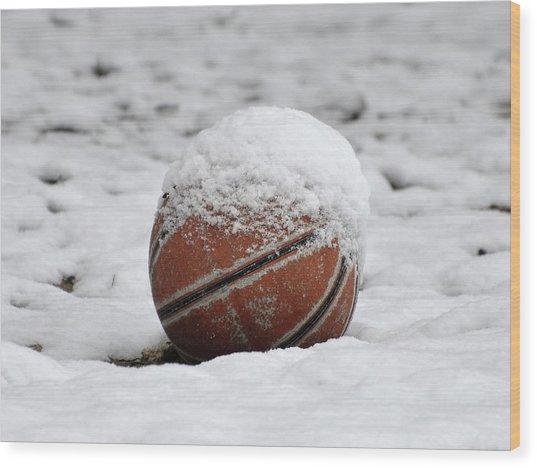 Snow Ball Wood Print