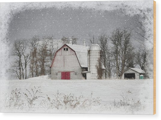 Snow Barn Wood Print
